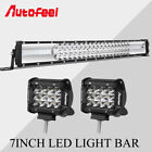 22 inch Led Light Bar Work Light + 2PCS 4'' Pods Spot Beam SUV OFFROAD for Jeep