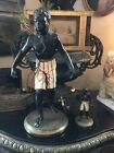 ANTIQUE PAIR OF BLACKAMOOR STATUES COLD PAINTED AMAZING DETAIL