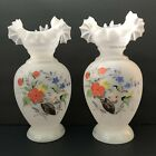 Pair of Bristol Glass Hand Blown Vases Painted Flowers With Ruffled Rims