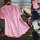 Womens Cotton Short Sleeve Tops Ladies Button Down Casual Blouse Shirts T shirt