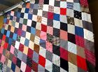 Antique vtg late 1800s Diamond patch Quilt Top hand stitched patchwork calico