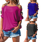 Womens Cold Shoulder Plus Size Tops Short Sleeve Blouse Sexy Solid Beach T Shirt