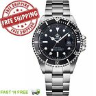 Men's Classic Submariner Homage Watch Stainless Steel Rotating Bezel Gold Plated