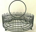 Vintage Metal Beverage Carrier Round Caddy Rack Holds 8 Drinking Glasses Black