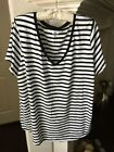 Old Navy Black  White Striped Short Sleeve Top Size 3X