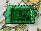 Vintage Anchor Hocking Forest Green Glass Relish Tray Dish