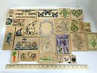 Lot Wood Rubber Stamp Spring Easter Egg Bunny Carrot Butterfly Dragonfly Fruit