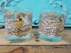Vintage Duck Fowl Libbey Whiskey Low Ball Drinking Glasses Set Barware