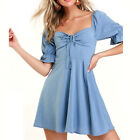 Women Ruffle Edged Neck Dress With Puffed Shoulder Vintage Lace Up Front Dress B