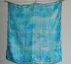 Vintage SILK Scarf Blue Hand Dyed by Dutch artist Loelle Whale Lobster Fish 35