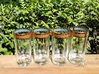 Culver Gold and Blue Turquoise Rim Highball Tumblers Set of 4 Two Sets Available