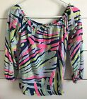 LILLY PULITZER ENNA KNIT OFF THE SHOULDER TOP INDIGO SEA DREAMIN SIZE SMALL