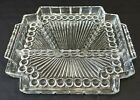 Vintage Pressed Glass Square Divided Relish Dish 4 Part Divided Dish