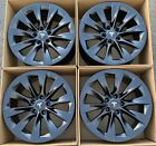 19 Tesla Model S Satin Black Factory Wheels Rims OEM SET OF 4 Slipstream