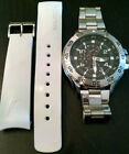 Nautica Mens Diver Chronograph N14547G Stainless Steel Watch-Xtra Strap Included