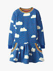 New MINI BODEN Girls Blue Rainbow Hearts Clouds Cosy Sweater Printed Dress
