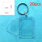 20  Clear Acrylic Blank Frame Keyrings Photo Picture Insert Keyfobs Keychains