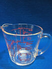 Vintage Fire King 8-Ounce 1-Cup Measuring Cup Red Graphics Large Print USA