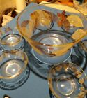 Mid-Century Modern 60's Glass Salad Set Fruit Bowl Large, 6 small Gold Leaves