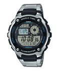 CASIO DIGITAL WORLD TIME STOPWATCH ALARM LED LIGHT MEN'S WATCH AE-2100WD-1A NEW