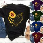Women Sunflower Printed Graphic Tops T shirt Scoop Neck Short Sleeve Plus Blouse
