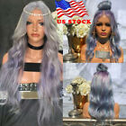 US Women Fashion Synthetic Hair Lace Front Wig Body Wavy Full Wigs Ombre Purple