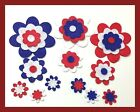 Felt flowers die cut shapes red white blue patch embellishment scrapbooking F386