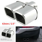 Stainless steel Chrome Car Dual Exhaust Tip Square Tail Pipe Muffler 63mm 25