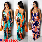 Women Boho Long Maxi Dress Lady Cocktail Party Evening Summer Beach Sundress US