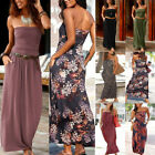 Womens Bandeau Summer Off Shoulder Boho Dress Ladies Summer Solid Maxi Dress Hot