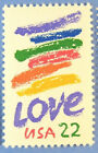 Love Postage Stamps 50 single MNH 22 cent Sc2143 crayon colors below face