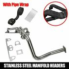 Fits Jeep Wrangler YJ 1991 1995 25L L4 Stainless Manifold Header w Downpipe