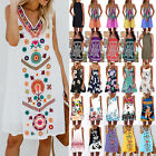 Women Boho Floral Short Mini Dress Summer Casual Kaftan Tunic Sundress Plus Size