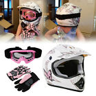 Motorcycle Motocross Off Road Helmet w Gloves + Goggles ATV Dirt Bike S M L XL