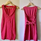 J Crew Size Small Pink Dress Lilah Sleeveless V Neck Tie Waist 100% Cotton