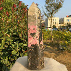 759LB Natural Beautiful Pink Peach blossom Stone point Crystal Obelisk healing
