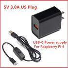 Raspberry Pi 4 Power Supply Adapter ON OFF Switch USB C 5V 30A US Plug