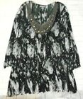 Essentials 3x White Black Crinkle Sequins Scoop Neck 3 4 Sleeve Over Blouse