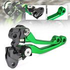 Green CNC Pivot Brake Clutch Levers For KAWASAKI KLX450R 08-15 KDX200/220 86-06