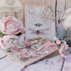 Shabby Chic Vintage Cottage style Wall Decor Sign Dragonflies  Roses Set of 2