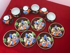 ANTIQUE Hand Painted Japanese Porcelain Satsuma Sake Cup Saucer Set of 6
