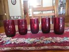 Anchor Hocking. A Beautiful vintage set of 5 royal ruby red 4 inch glasses. Mint