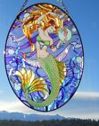 AMIA Stained Glass Look Mermaid  Seahorse Oval Suncatcher  NEW