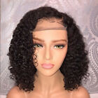 US Pre Plucked Brazilian Human Hair Curly Full Lace Wigs Glueless Front Wig