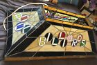 Large Pool Table Light w stained style glass Vintage Used