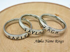 Classic Stainless Steel Ring 4mm Hand Stamped Sibling RingsMothers 3 Ring set