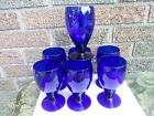 Lot of 7 Cobalt Blue Banquet Goblet  LIBBEY  Drinking Wine Water Glasses