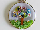 Vintage Italy Gold Sterling Silver Millefiori Mosaic Tree of Life Glass Necklace