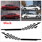 2pcs Black Auto Accessories Checkered Flag PVC Side Decals Sticker For Car SUV