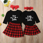 US Sister Match Christmas Clothes Kids Baby Girl Tops Romper Dress Outfits Set